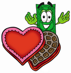 Clip Art Graphic of a Flat Green Dollar Bill Cartoon Character With an Open Box of Valentines Day Chocolate Candies