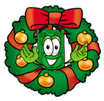 Clip Art Graphic of a Flat Green Dollar Bill Cartoon Character in the Center of a Christmas Wreath
