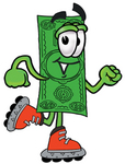 Clip Art Graphic of a Flat Green Dollar Bill Cartoon Character Roller Blading on Inline Skates