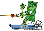 Clip Art Graphic of a Flat Green Dollar Bill Cartoon Character Waving While Water Skiing