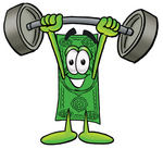 Clip Art Graphic of a Flat Green Dollar Bill Cartoon Character Holding a Heavy Barbell Above His Head
