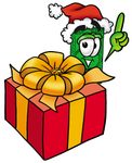 Clip Art Graphic of a Flat Green Dollar Bill Cartoon Character Standing by a Christmas Present