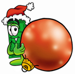 Clip Art Graphic of a Flat Green Dollar Bill Cartoon Character Wearing a Santa Hat, Standing With a Christmas Bauble
