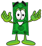 Clip Art Graphic of a Flat Green Dollar Bill Cartoon Character With Welcoming Open Arms
