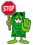 Clip Art Graphic of a Flat Green Dollar Bill Cartoon Character Holding a Stop Sign