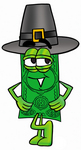 Clip Art Graphic of a Flat Green Dollar Bill Cartoon Character Wearing a Pilgrim Hat on Thanksgiving