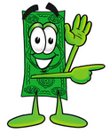 Clip Art Graphic of a Flat Green Dollar Bill Cartoon Character Waving and Pointing