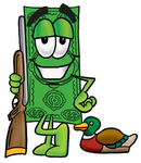 Clip Art Graphic of a Flat Green Dollar Bill Cartoon Character Duck Hunting, Standing With a Rifle and Duck