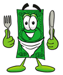 Clip Art Graphic of a Flat Green Dollar Bill Cartoon Character Holding a Knife and Fork