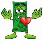 Clip Art Graphic of a Flat Green Dollar Bill Cartoon Character With His Heart Beating Out of His Chest