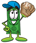 Clip Art Graphic of a Flat Green Dollar Bill Cartoon Character Catching a Baseball With a Glove