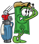 Clip Art Graphic of a Flat Green Dollar Bill Cartoon Character Swinging His Golf Club While Golfing