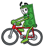 Clip Art Graphic of a Flat Green Dollar Bill Cartoon Character Riding a Bicycle