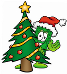 Clip Art Graphic of a Flat Green Dollar Bill Cartoon Character Waving and Standing by a Decorated Christmas Tree