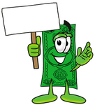 Clip Art Graphic of a Flat Green Dollar Bill Cartoon Character Holding a Blank Sign