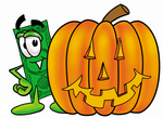 Clip Art Graphic of a Flat Green Dollar Bill Cartoon Character With a Carved Halloween Pumpkin