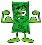 Clip Art Graphic of a Flat Green Dollar Bill Cartoon Character Flexing His Arm Muscles