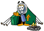 Clip Art Graphic of a Blue Handled Magnifying Glass Cartoon Character Camping With a Tent and Fire