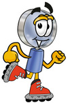 Clip Art Graphic of a Blue Handled Magnifying Glass Cartoon Character Roller Blading on Inline Skates