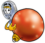 Clip Art Graphic of a Blue Handled Magnifying Glass Cartoon Character Standing With a Christmas Bauble
