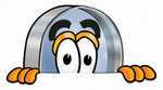 Clip Art Graphic of a Blue Handled Magnifying Glass Cartoon Character Peeking Over a Surface