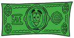 Clip Art Graphic of a Blue Handled Magnifying Glass Cartoon Character on a Dollar Bill