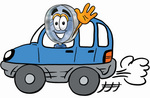Clip Art Graphic of a Blue Handled Magnifying Glass Cartoon Character Driving a Blue Car and Waving