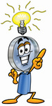 Clip Art Graphic of a Blue Handled Magnifying Glass Cartoon Character With a Bright Idea