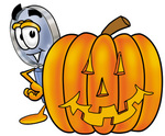 Clip Art Graphic of a Blue Handled Magnifying Glass Cartoon Character With a Carved Halloween Pumpkin