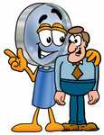 Clip Art Graphic of a Blue Handled Magnifying Glass Cartoon Character Talking to a Business Man