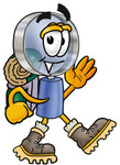 Clip Art Graphic of a Blue Handled Magnifying Glass Cartoon Character Hiking and Carrying a Backpack