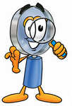 Clip Art Graphic of a Blue Handled Magnifying Glass Cartoon Character Looking Through a Magnifying Glass