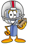 Clip Art Graphic of a Blue Handled Magnifying Glass Cartoon Character in a Helmet, Holding a Football