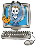 Clip Art Graphic of a Blue Handled Magnifying Glass Cartoon Character Waving From Inside a Computer Screen