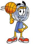 Clip Art Graphic of a Blue Handled Magnifying Glass Cartoon Character Spinning a Basketball on His Finger
