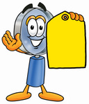 Clip Art Graphic of a Blue Handled Magnifying Glass Cartoon Character Holding a Yellow Sales Price Tag