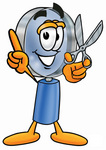 Clip Art Graphic of a Blue Handled Magnifying Glass Cartoon Character Holding a Pair of Scissors