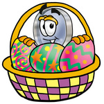 Clip Art Graphic of a Blue Handled Magnifying Glass Cartoon Character in an Easter Basket Full of Decorated Easter Eggs