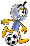 Clip Art Graphic of a Blue Handled Magnifying Glass Cartoon Character Kicking a Soccer Ball