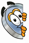 Clip Art Graphic of a Blue Handled Magnifying Glass Cartoon Character Peeking Around a Corner