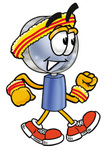 Clip Art Graphic of a Blue Handled Magnifying Glass Cartoon Character Speed Walking or Jogging