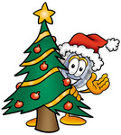 Clip Art Graphic of a Blue Handled Magnifying Glass Cartoon Character Waving and Standing by a Decorated Christmas Tree