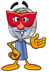 Clip Art Graphic of a Blue Handled Magnifying Glass Cartoon Character Wearing a Red Mask Over His Face