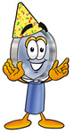 Clip Art Graphic of a Blue Handled Magnifying Glass Cartoon Character Wearing a Birthday Party Hat