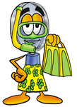 Clip Art Graphic of a Blue Handled Magnifying Glass Cartoon Character in Green and Yellow Snorkel Gear