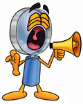Clip Art Graphic of a Blue Handled Magnifying Glass Cartoon Character Screaming Into a Megaphone