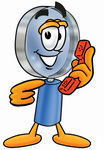 Clip Art Graphic of a Blue Handled Magnifying Glass Cartoon Character Holding a Telephone