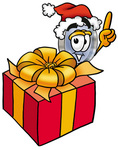 Clip Art Graphic of a Blue Handled Magnifying Glass Cartoon Character Standing by a Christmas Present