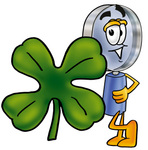 Clip Art Graphic of a Blue Handled Magnifying Glass Cartoon Character With a Green Four Leaf Clover on St Paddy's or St Patricks Day