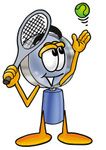 Clip Art Graphic of a Blue Handled Magnifying Glass Cartoon Character Preparing to Hit a Tennis Ball